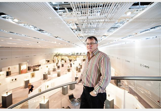 Stephen Hodder on the high-level walkway over-looking the gallery space.